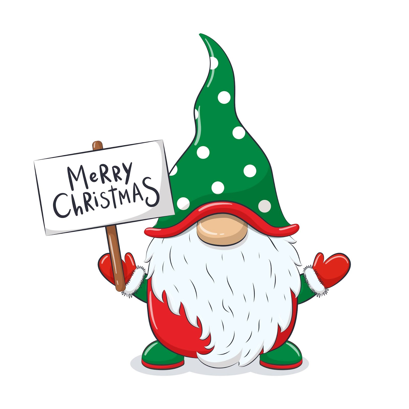 Cute Cheerful Gnome With Phrase Merry Christmas Free Download Vector CDR, AI, EPS and PNG Formats