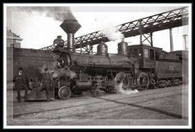 San Pedro, Los Angeles, and Salt Lake Railroad locomotive #32, early 1900s