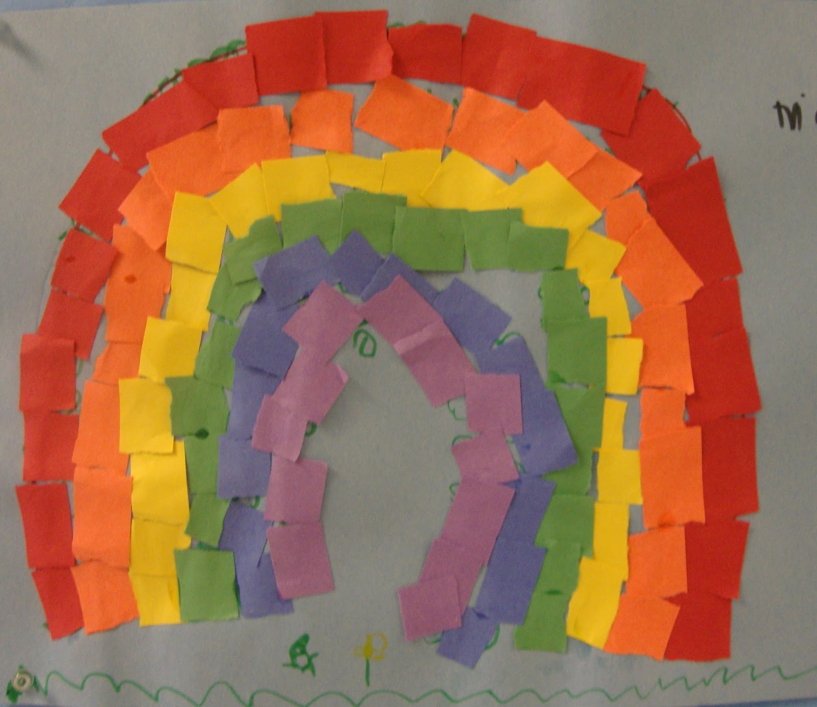 Art Paper Scissors Glue Mosaic Rainbows