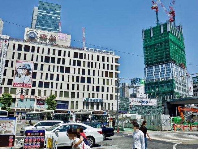 道玄坂側から見た、渋谷駅西口のビル群