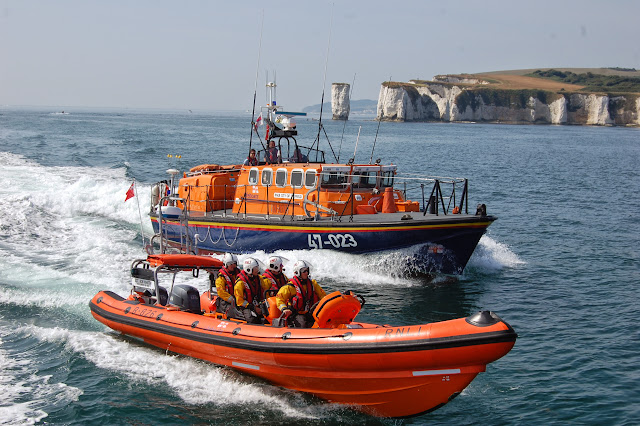 Poole's Tyne class and B class Atlantic 85 lifeboats in action off Old Harry rocks  Sunday 14 July 2013 Photo: RNLI Poole/Dave Riley