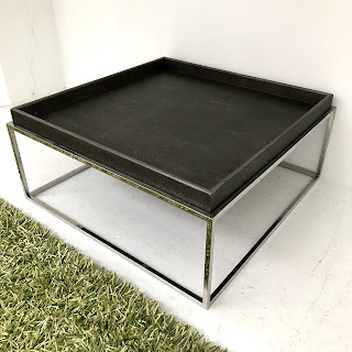 Faux Shagreen Top Contemporary Coffee Table