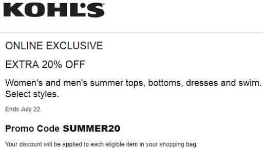 Kohls Extra 20% Off Women's and men's Swimwear