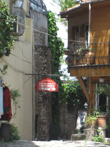 The long steep pathway to a traditional crafts museum in Istanbul.