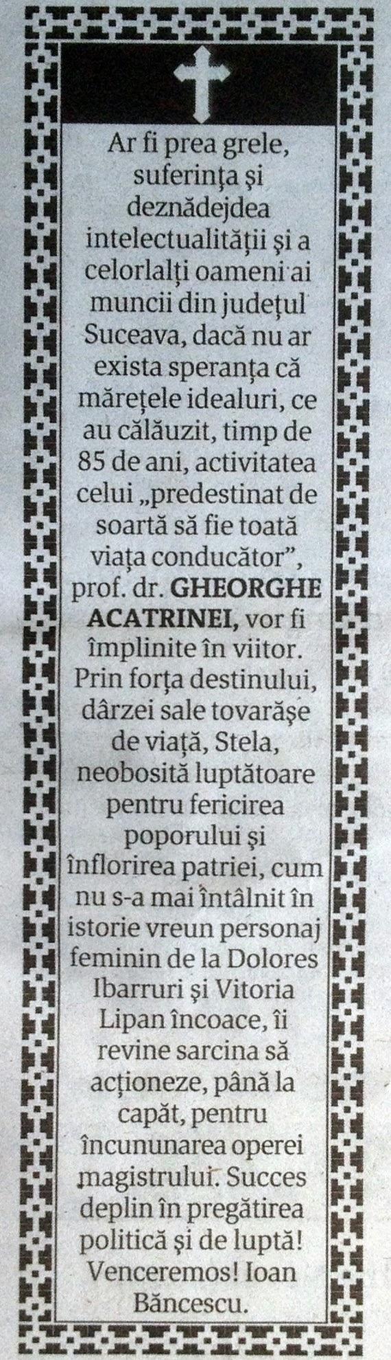 Condoleanţe la băşcălie transmise de fostul prefect Ioan Băncescu la moartea preşedintelui PRM, Gheorghe Acatrinei