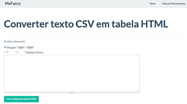 Ferramenta online para converter texto CSV em tabela HTML