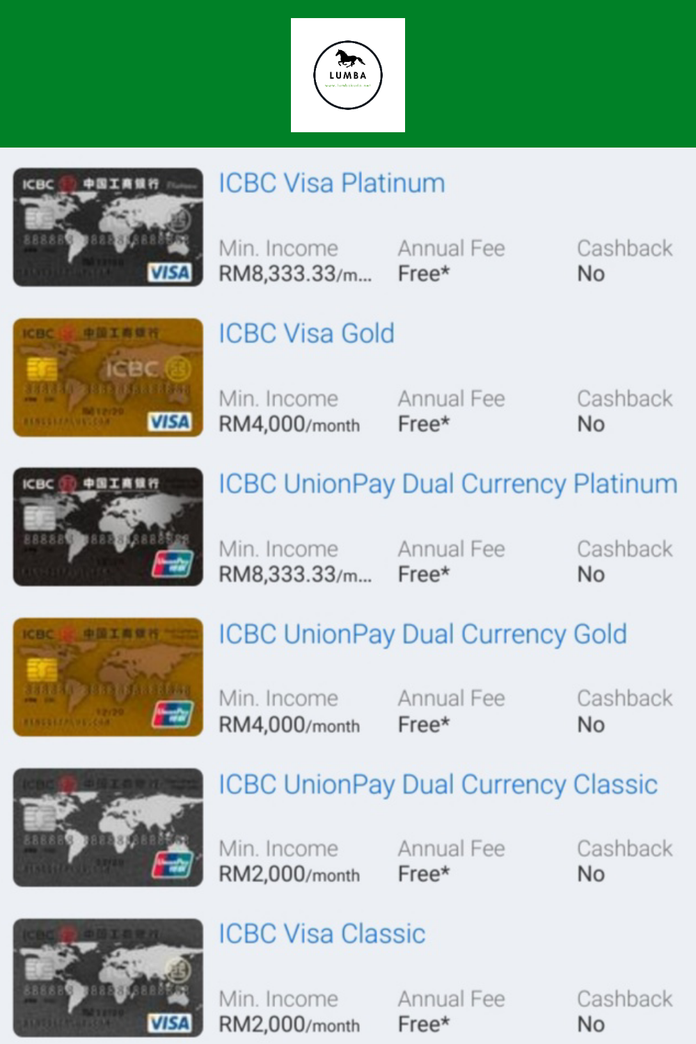 6 Kad Kredit ICBC Bank Popular
