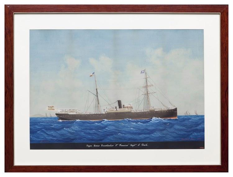 Acuarela de Pineda del vapor SAN FRANCISCO. Museu Maritim de Barcelona. Nuestro agradecimiento.jpg