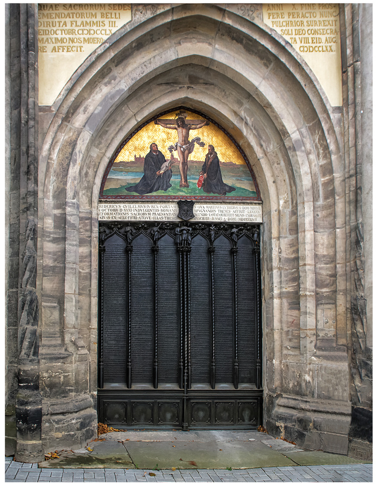 Doors of the Schlosskirche in Wittenberg, on which Dr. Luther nailed his Theses