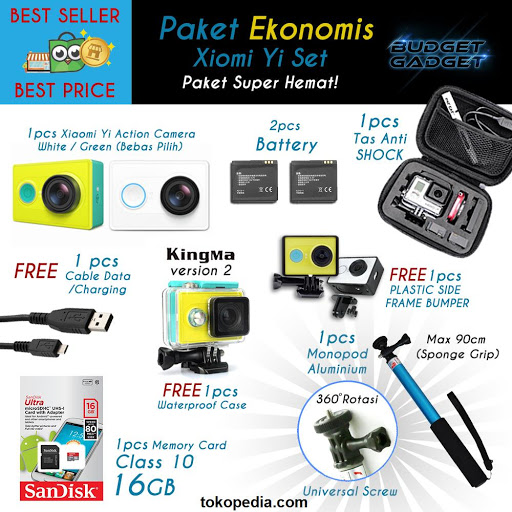 Paket Lengkap (EKONOMIS) Xiaomi Yi Camera by Budge