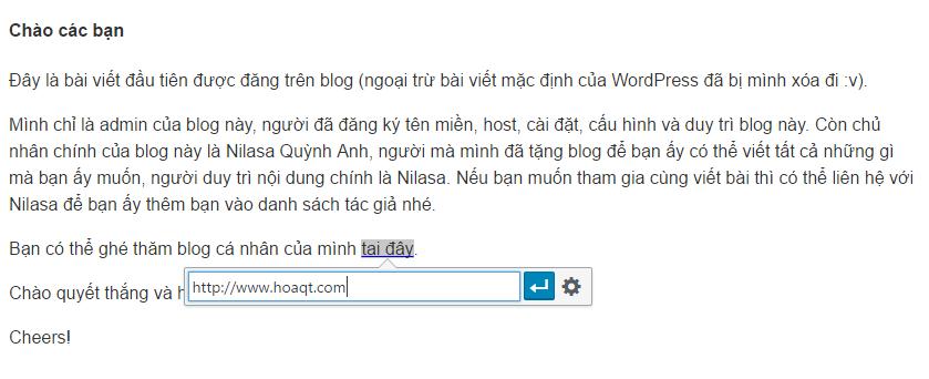 Hinh anh: Tao link lien ket cho mot doan text nho trong bai viet