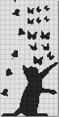 siluetas gatos punto de cruz monocromo  (2)