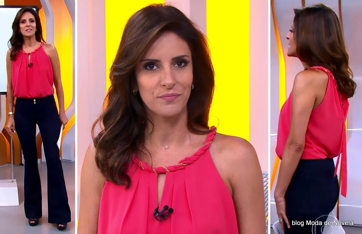 moda do programa Hora 1, look da Monalisa Perrone no dia 22 de janeiro de 2015
