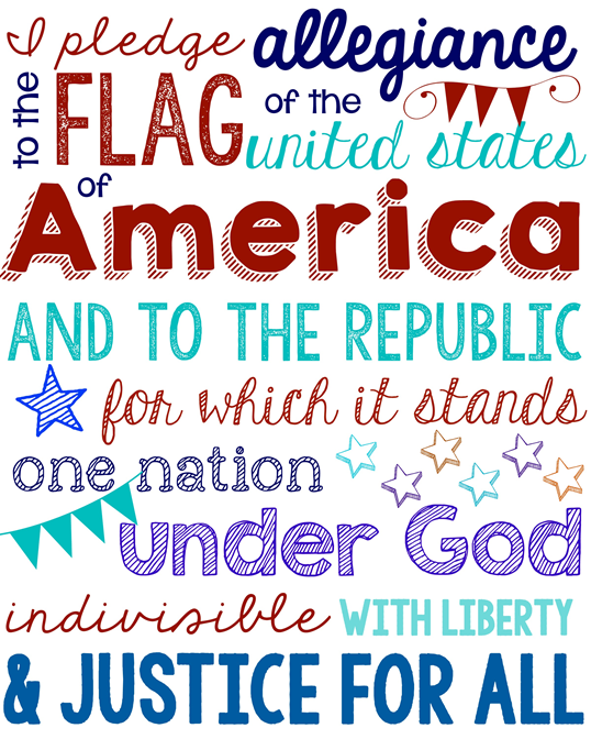 Pledge of Allegiance at GingerSnapCrafts.com
