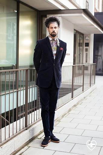 Aaron Dash; Menswear Designer; Ozwald Boateng suit customised by Aaran; vintage shirt; Mr Dash pocket sq; Oliver Spencer shoes;