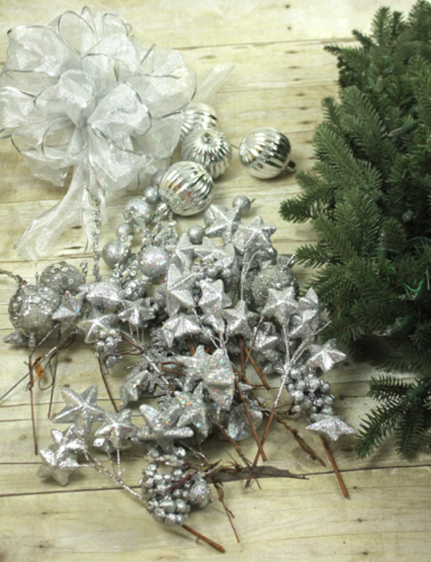 Silver Flroal Picks for Wreath
