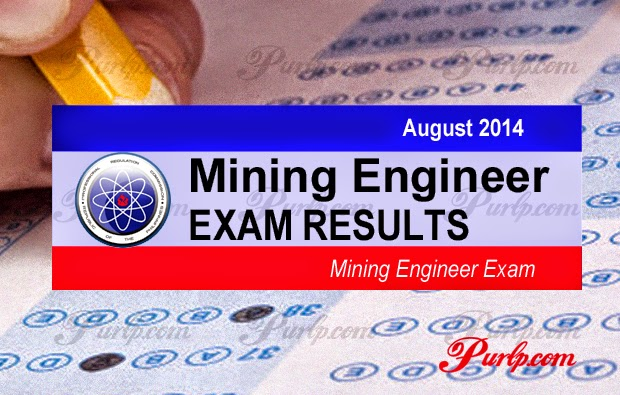August 2014 Mining Engineer Board Exam Results