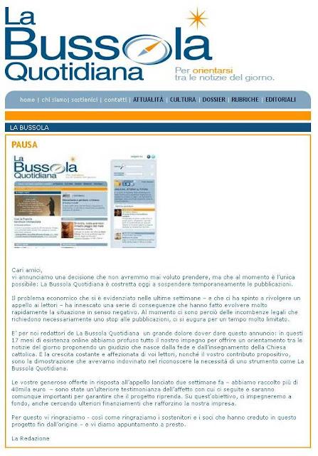 Cierre de La Bussola Quotidiana-Mayo 2012