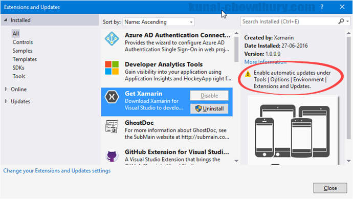Visual Studio 2015 - Automatically update this extension disabled (www.kunal-chowdhury.com)