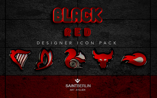 Black Red HD Icon Pack Apps for Android screenshot