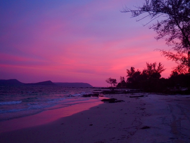 Pink and purple sunset at Nature Beach, Koh Rong, Cambodia