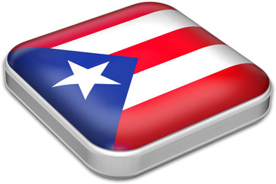 Flag of Puerto Rico with metallic square frame