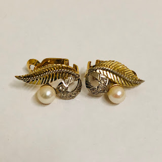 18K Gold, Stone, and Pearl Earrings