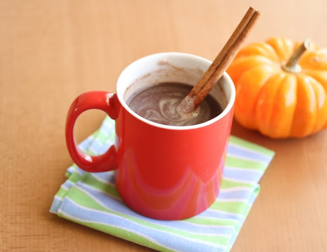 photo of Pumpkin Hot Chocolate in a red mug