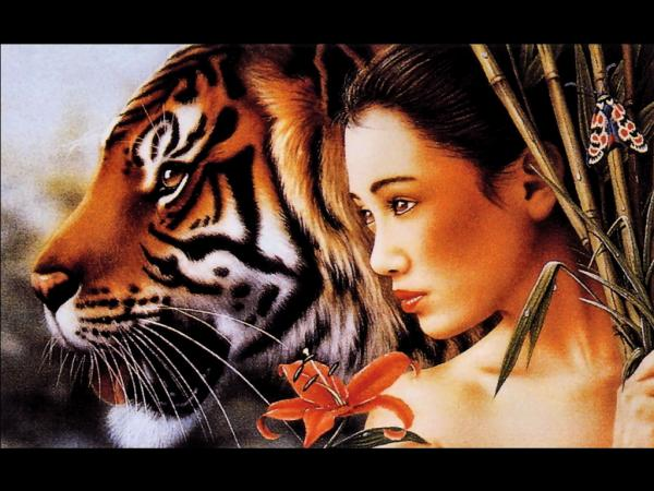 Samurai Girl And Tiger, Magic Samurai Beauties