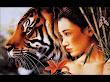 Samurai Girl And Tiger