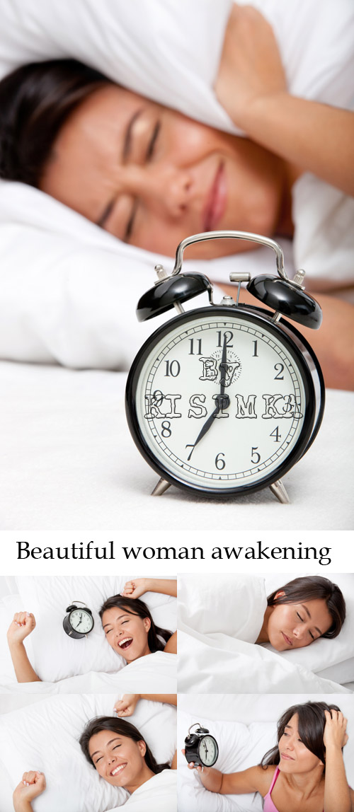 Stock Photo: Beautiful woman awakening