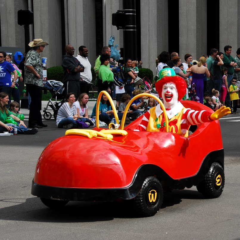 Ronald McDonald speed machine at the Lexington, Kentucky St. Patrick's Day parade, Saturday