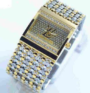 jam tangan LV biji lada Silver kombi Gold