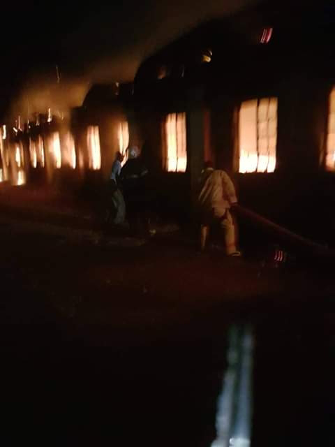 Moi girls secondary School Mandera on fire. PHOTO | BMS