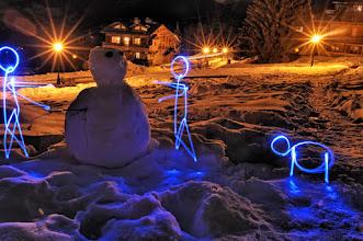 Photo: Meet the snowman - Light painting by Christopher Hibbert, french photographer and light painter. Further information: http://www.christopher-hibbert.com