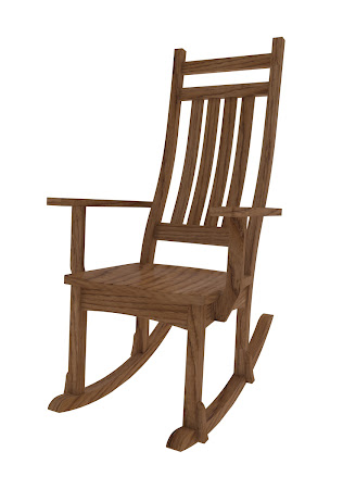 Trestle Mission Rocking Chair in Rustic Oak
