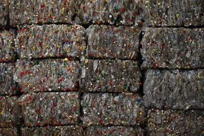 Plastic bottles at a Chinese recycling plant