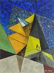 118 - Le Triangle rouge - 2005 130 x 97 - Acrylique sur toile