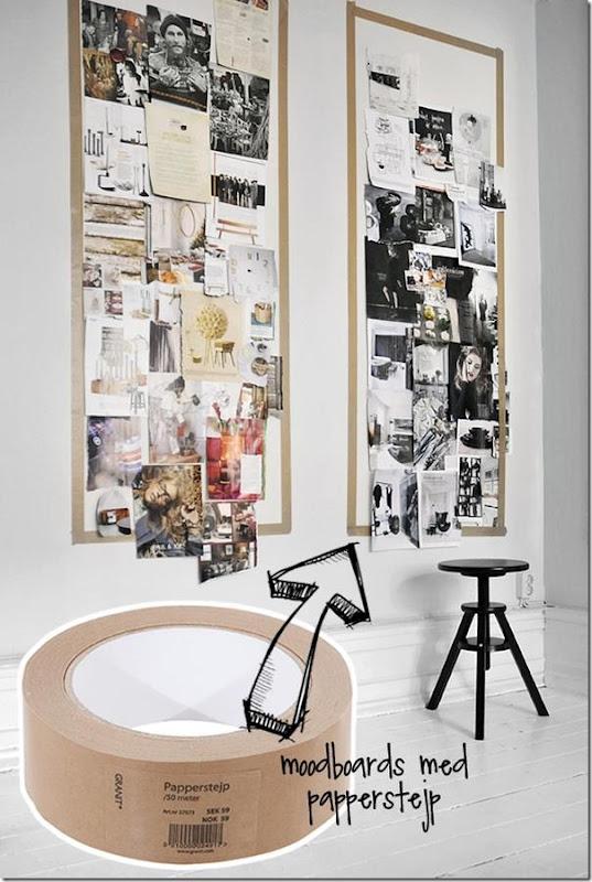 Moodboard nell'angolo studio per l'ispirazione e la decorazione