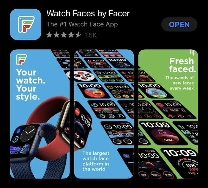 شاشة Facer App Store.