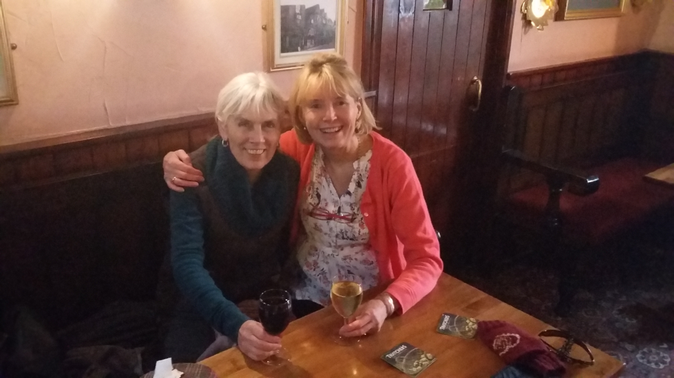enjoying a New Year's drink together, my oldest and dearest friend, Moira