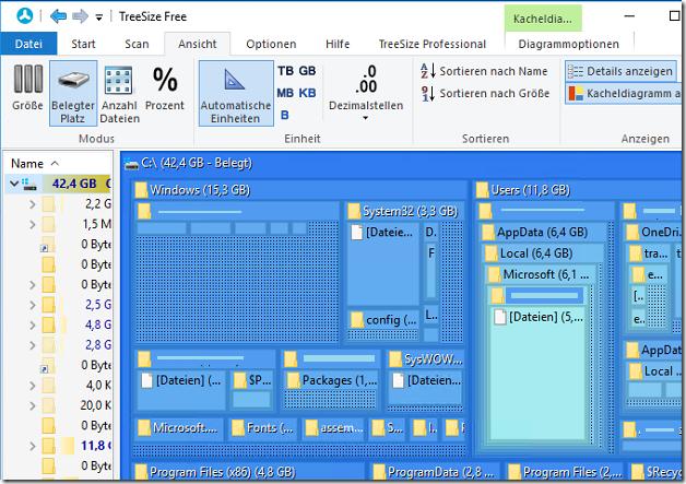Windows Speicherplatz analysieren