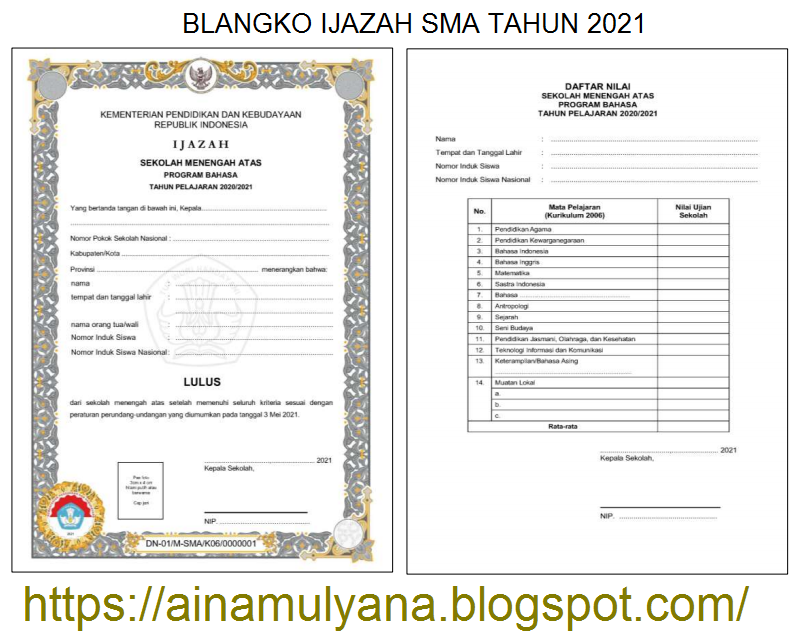 Contoh dan Juknis Pengisian atau Penulisan Blangko Ijazah SMA Tahun 2021