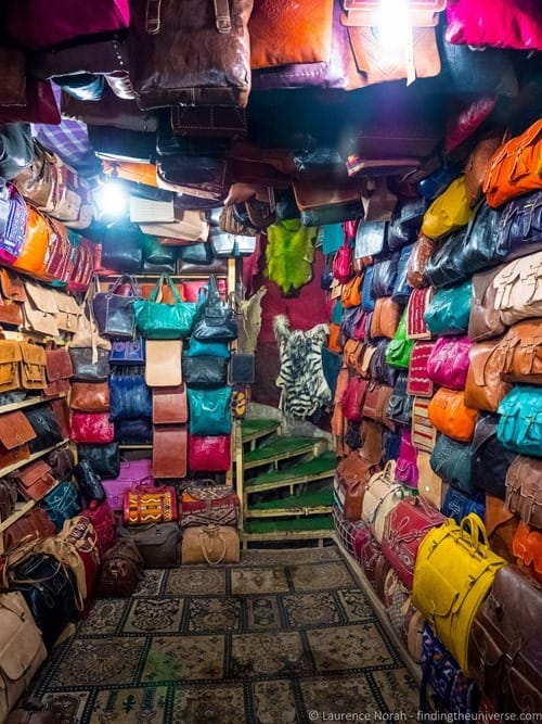 Leather shop Fez Morocco Interior