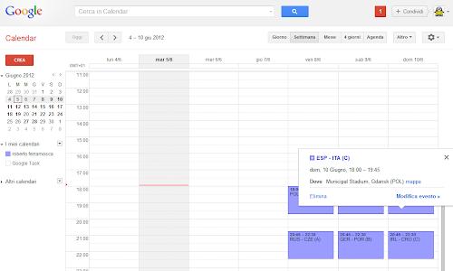 Calendario degli Europei di Calcio su Google Calendar e Android