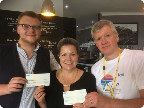 Tom Essex and Kerri Williams, with Ian Skaithe (right) from Head Injured People in Cheshire (HIP) Charity