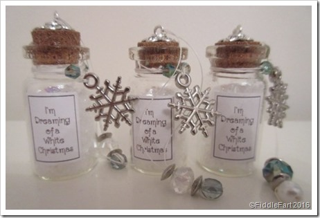 I'm Dreaming of a White Christmas tiny bottle Christmas tree decoration 3