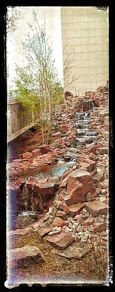 Skinny waterfall veiw from St Francis Hospital in #ColoradoSprings. Image copyright #Malika Bourne