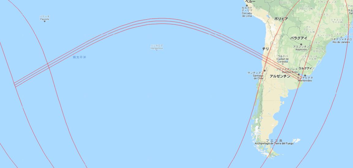 2019年7月2日の皆既日食全体マップ