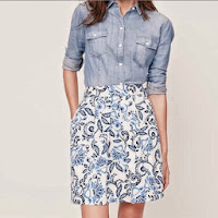 Floral Pocket Skirt (Misty Blue)